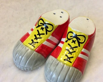 Enesco 1977 Sneakers salt and pepper shakers. Japan. Free ship to US.