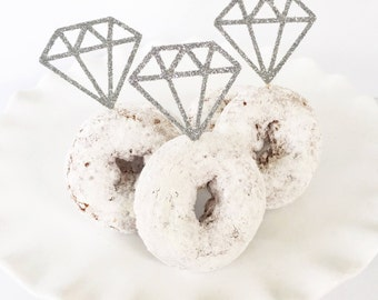 Diamond Ring Donuts / Diamond Cupcake Toppers / Diamond Donut Toppers / Engagement Party / Bridal Shower / She Said Yes / Bride To Be
