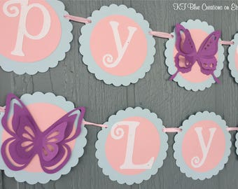 Butterfly Birthday Banner - Pale Blue, Light Pink, Purple - Personalized with Name - Butterfly Party, Garden Party, Showers, Birthdays