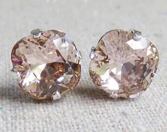 Swarovski Crystal Blush Pink Post Earrings Cushion Cut Square Earrings Pale Pink Bridal Jewelry Wedding Earrings Bridesmaids Gifts