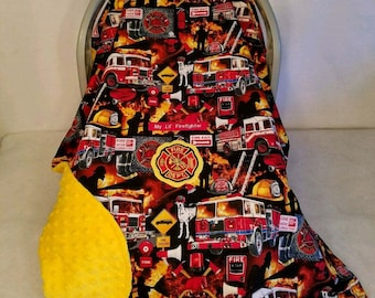 Car Seat Canopy Cover Cotton Fire Fighters & Trucks Yellow Minky Lining n FireFighter Patch Custom Embroider My Lil Fire Fighter Cozy Infant