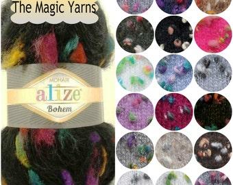 Alize Mohair Bohem New- Mohair yarn, wool yarn,butterfly yarn,fancy yarn, aran, novelty, multicolor yarn, knitting yarn,crochet yarn,scarf