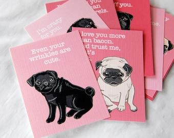 Pug Valentine Cards - Mini Eco-friendly Set of 8