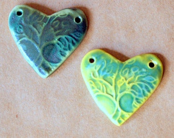 2 Sweet Ceramic Tree of Life  Heart Pendant Beads - Light and Dark Green