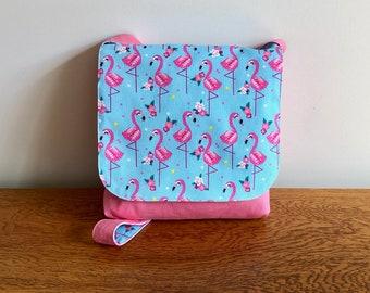 Children's Messenger Bag, Kids Messenger Bag, Girls Cross Body Bag, Colourful Flamingo Print