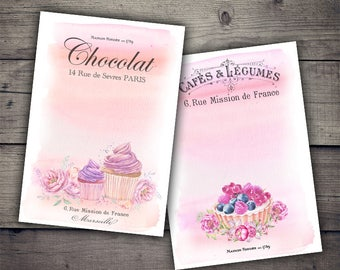 French Bakery - Cupcakes and Desserts Digital Collage Sheet Printables