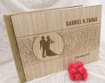 Rustic Guest Book, Personalized Wedding Guest Book, Custom Guest Book, Wood Guest Book Wedding, Wedding Sign In Book GB4