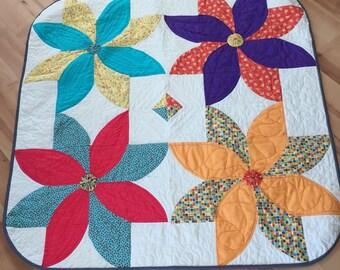"Spring Flowers, 40"" square handmade quilt"