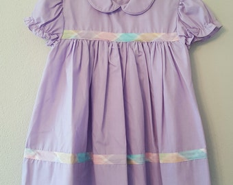 Vintage Girls Purple Dress with Plaid details by C.I. Castro -Size 2t- New, never worn