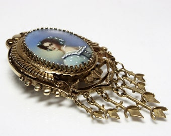 Portrait Miniature Pendant Brooch Victorian Revival 14K Gold