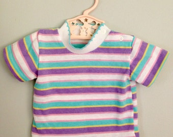 Vintage 80s Purple and Blue Striped Baby Girls Shirt 0 - 6 months