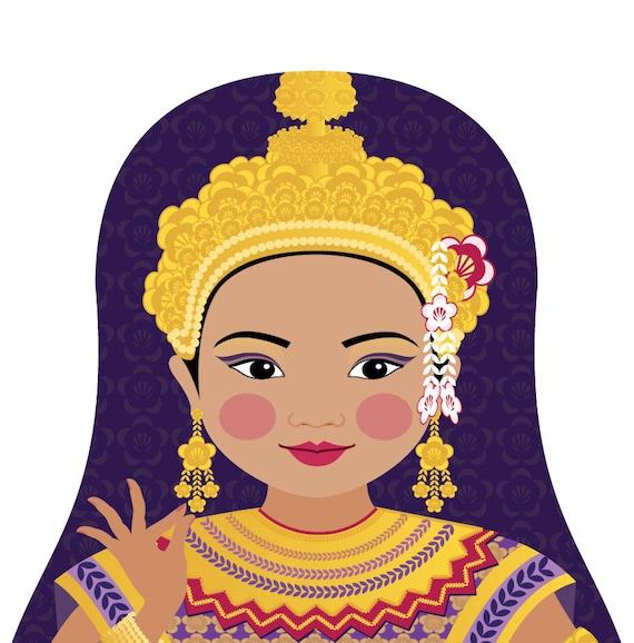 Thai Doll Art Print with traditional dancer dress, matryoshka