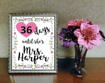 Bride-to-Be Countdown Sign (Digital Download)