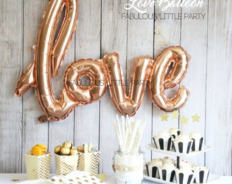 Bridal Shower Decorations, Love Balloon Wedding Photo Props, Dessert Table Decor Rose Gold Mylar Balloon, Birthday, Baby Shower, Valentines