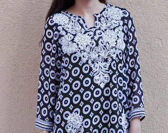 NEELA Printed Georgette Hand Embroidered Tunic Top Dress Swim Suit Cover up