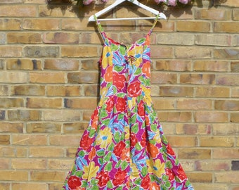Vintage Bright Floral Print Sundress