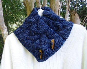 Button Scarf Cowl Cable Knit Boston Harbor Scarf in Dk Blue Heather Wine Heather or Turquoise Heather