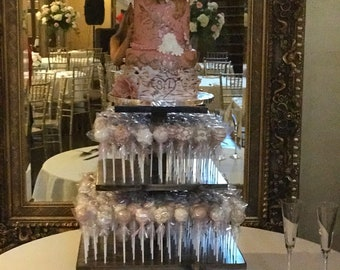 3 Tier  Square Custom Made Solid Wood Cake Pop Stand. Holds 180 Cake Pops.