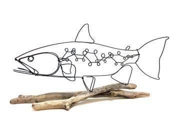 Trout Wire Sculpture, Fish Wire Art, Steelhead Trout, Minimal Wire Design, 578212787