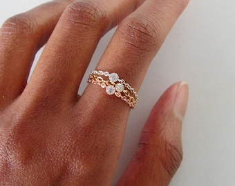 Rose Gold Chain Ring Set, rose gold midi ring, thin promise ring for her, stacking ring, ring for girlfriend, thin ring, diamond chain ring