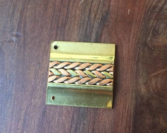 Vintage Brass Square Pendants with Rose and Gold Brass twist