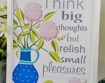 Think big thoughts sign PDF - illustration art modern retro saying