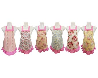 Kids Apron Set of 6 // Floral Prints // Shabby Chic // Pastel // Great for Baking Party // Size 4-6-8-Young Adult