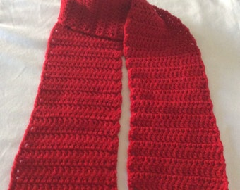 FREE SHIPPING Crochet Scarf / Red / Hand Crocheted Red Scarf