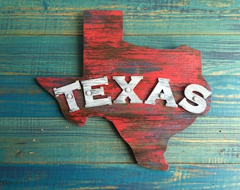 Antique Style Texas Wood & Metal Sign