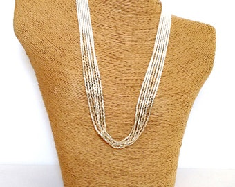 Ivory and gold necklace, seed bead necklace,cream necklace,knot necklace, beaded necklace, beaded choker,multistrand necklace,ivory and gold