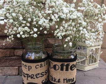 Mason Jar Wraps, Set of FIVE, Coffee, Espresso, Jar Decoration, Shower, Party, Wedding, Centerpiece, Decoration