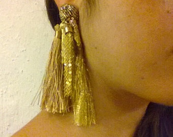 Tassel and woven piece earring