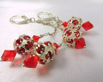 Dazzle Ball Red Swarovski on Heart on fine Sterling Silver chain and fine sterling silverleverbacks