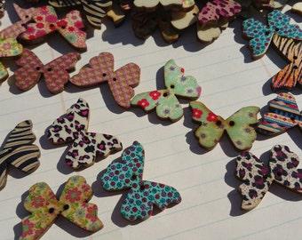 """Wood Butterfly Buttons - Wooden Butterflies Button - Color Assortment No. 2 - 1 1/8"""" Tall- 3/4"""" Wide"""