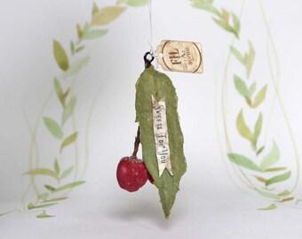 Kirschen Cherry Glitzer Nostalgischer Christbaumschmuck Wattefigur Ornament Spun Cotton
