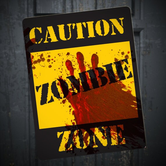Zombie Caution Sign, Printable DIY Halloween Walking Dead Party Decoration,  Blood Spatter, Horror Party, Zombie Apocalypse Party Decor