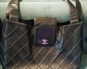 Authentic CHANEL Large Lambskin Quilted Bag Tote