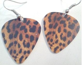 Leopard guitar pick earrings