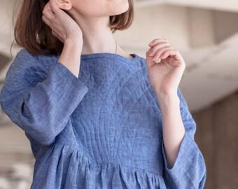 SALE! Womens Linen Dress With Quilted Yoke, Light Blue, Cornflower Blue, Denim Blue, Oversized Summer Dress, Designer clothing
