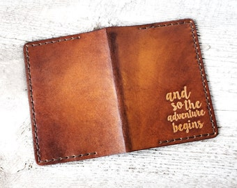 Personalized Leather Passport Holder Travel Wallet, And So The Adventure Begins, Passport Cover, Genuine Leather, Wanderlust