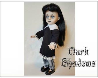 Living Dead Doll Clothes - DARK SHADOWS Goth Dress and Leggings - Handmade Custom Fashion by dolls4emma