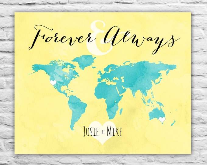 Long Distance Love, Long Distance Boyfriend Gift, Forever And Always Wall Art Print, World Map, Fiance Relationship, Girlfriend, Love Quotes