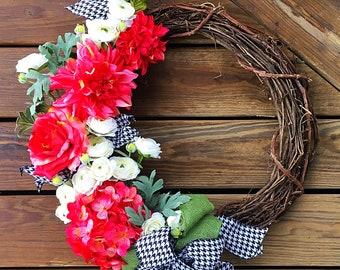 Spring Wreath - Grapevine Wreath - Floral Wreath - Front Door Wreath - Year Round Wreath