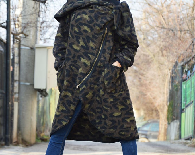 Maxi Plus Size Collar  Military Warm Coat, Extravagant Long Sleeves WarmCoat, Double  Zipper Wool Coat by SSDfashion