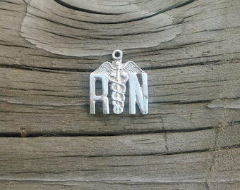 Sterling Silver Registered Nurse Medical Charm