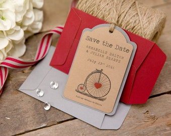 Vintage Bicycle Save The Date Luggage Tags (Red) with Envelopes - Set of 25