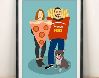 Full length portrait. Custom family portrait. Full body portrait. Wedding portrait. Engagement or anniversary gift.