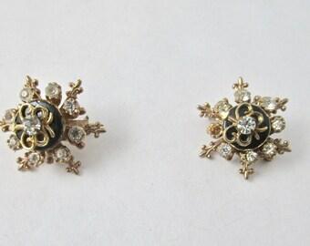 Vintage Black Enamel and Rhinestone Scatter Pins