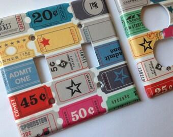 Ticket Stub Light Switch Cover / Retro Vintage Double Light Switch/ Movie  Room Decor /