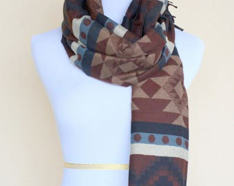 Brown Blanket Scarf / Oversized blanket scarf / Brown blue cream scarf / Fall winter scarf / Gift for her for Girlfriend for mom for wife
